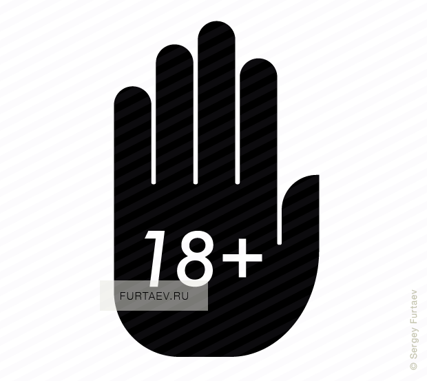 Vector icon of 18+ written on palm