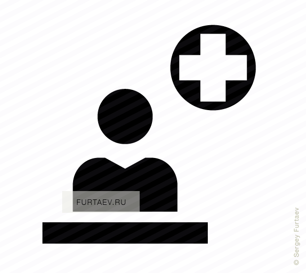 Vector icon of person sitting at desk in hospital registration office