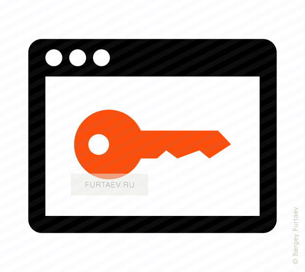 Vector icon of key over application screen