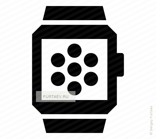 Vector icon of smart watch with applications on screen