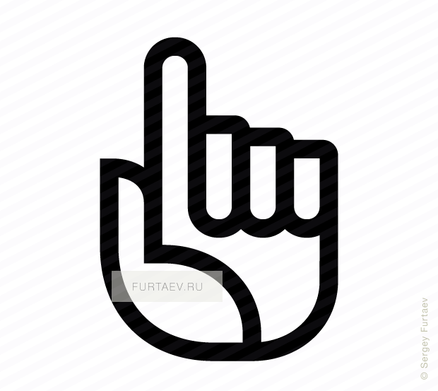 Vector icon of hand with raised index finger