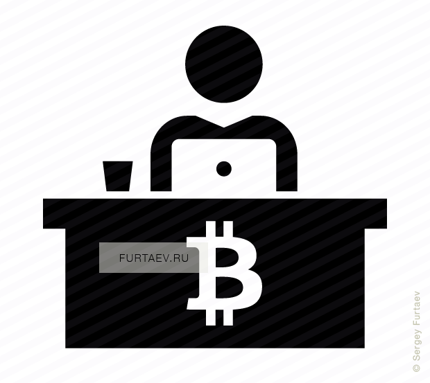 Vector icon of man working on laptop sitting at table with bitcoin sign