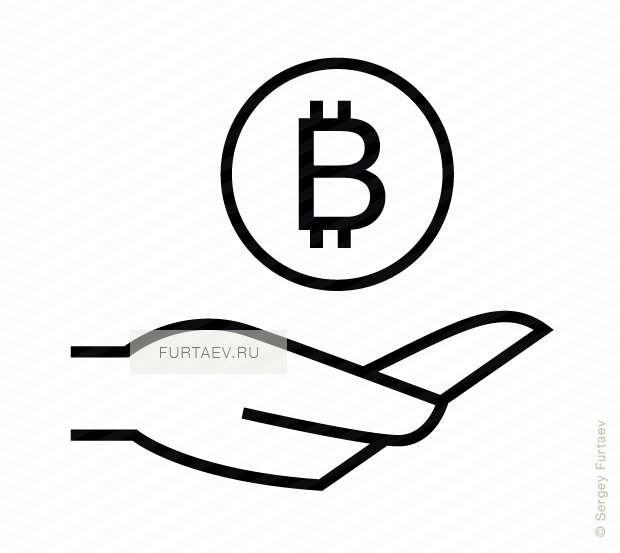 Vector icon of hand holding bitcoin