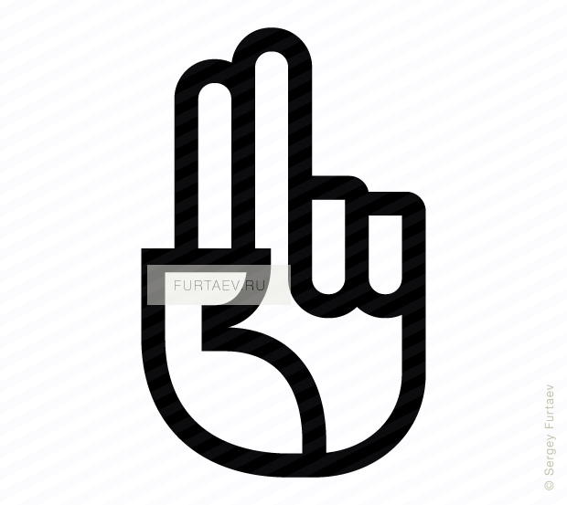 Vector icon of hand with raised index and middle fingers