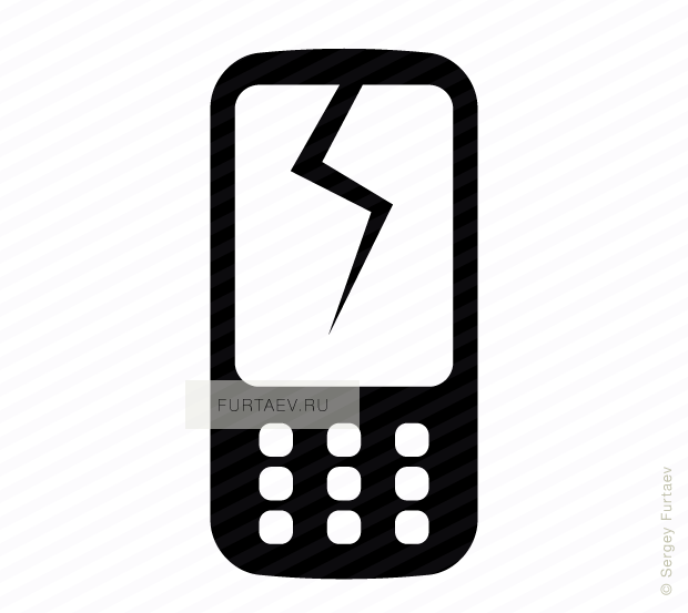 Vector icon of mobile phone with cracked screen