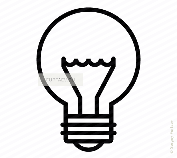 Vector icon of light bulb