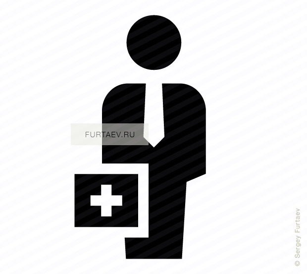 Vector icon of standing man with tie and first aid kit