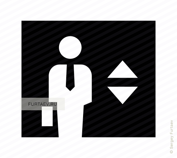 Vector icon of man with tie and briefcase in elevator