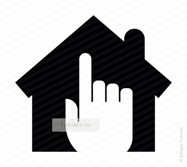 Vector icon of house under index finger