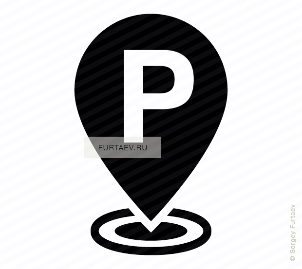 Vector icon of P sign on map marker