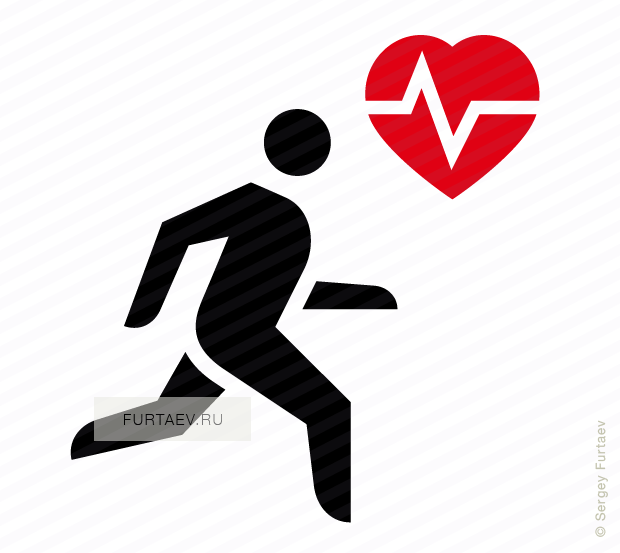 Vector icon of heartbeat near running man