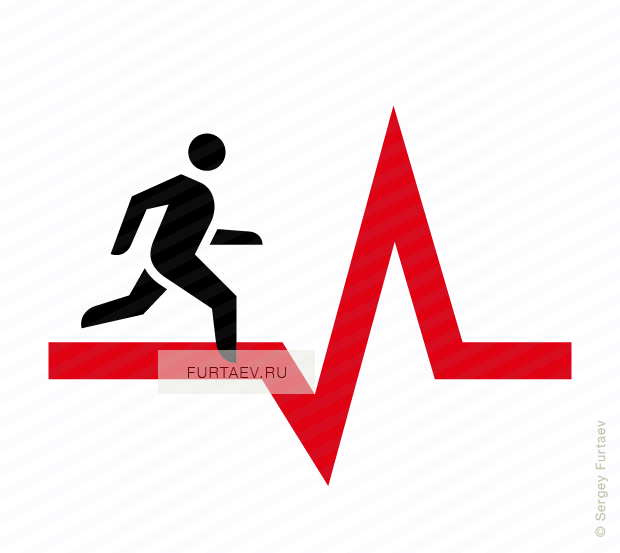 Vector icon of man running along heart rate line