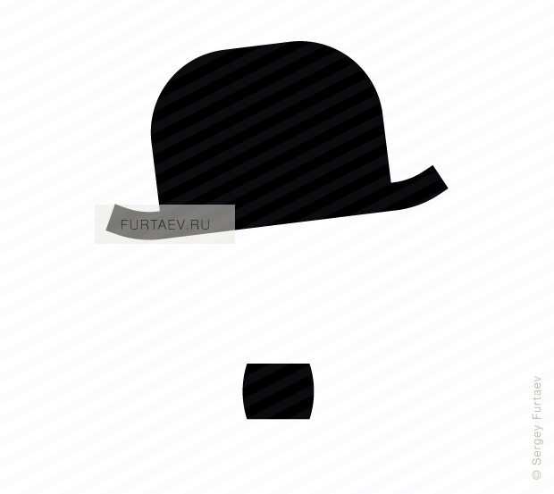 Vector icon of Charlie Chaplin hat and moustache