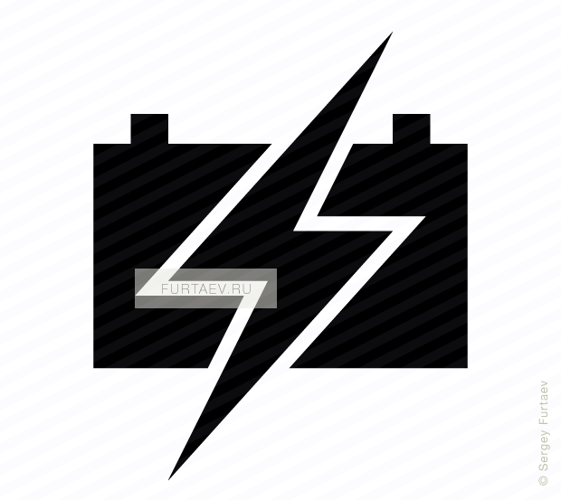 Vector icon of lightning over flat automotive battery