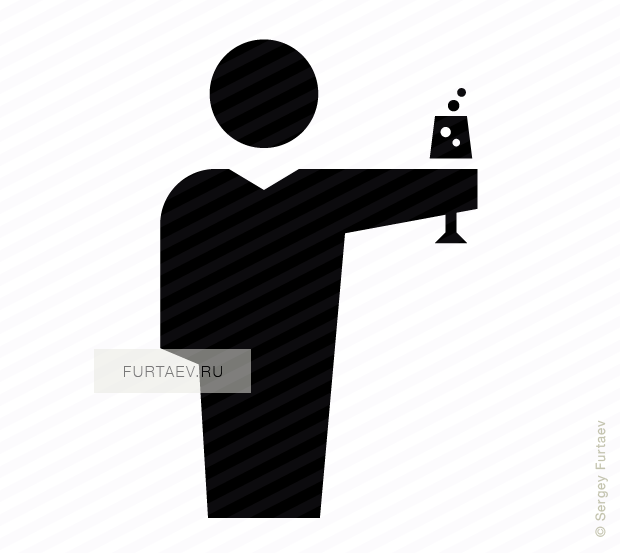 Vector icon of male person holding glass of champagne in his hand