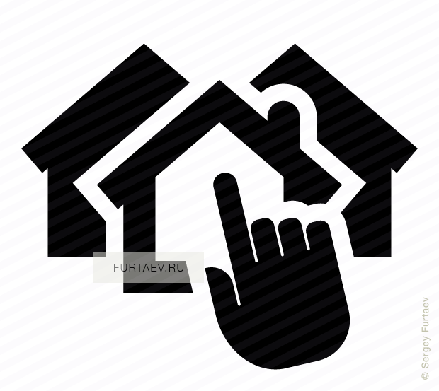 Vector icon of several houses under index finger