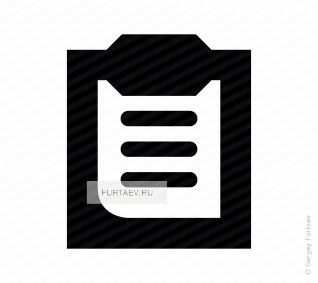 Vector icon of document on clipboard