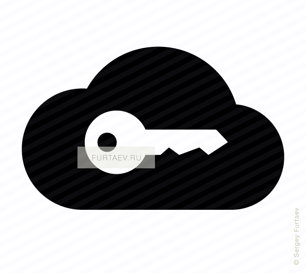 Vector icon of key over cloud