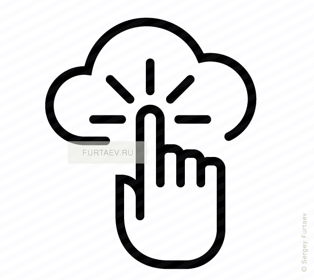 Vector icon of cloud under index finger with motion lines around it