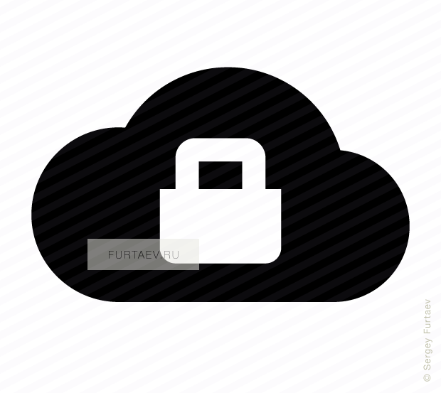 Vector icon of closed padlock over cloud