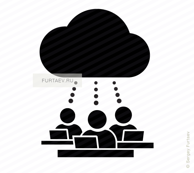 Vector icon of people working on laptops in virtual office sitting at tables under cloud
