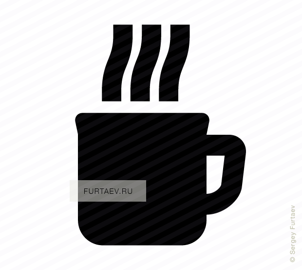 Vector icon of mug with hot beverage