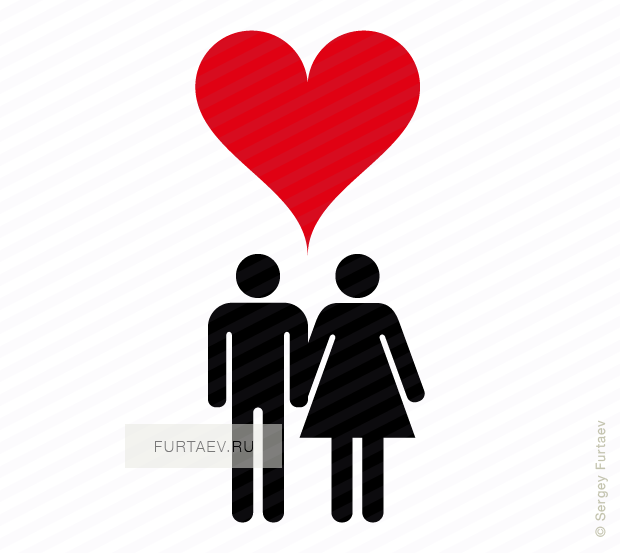 Vector icon of man and woman holding hands under heart