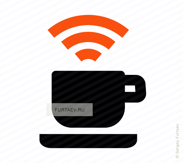 Vector icon of mug under Wi-Fi signal sign