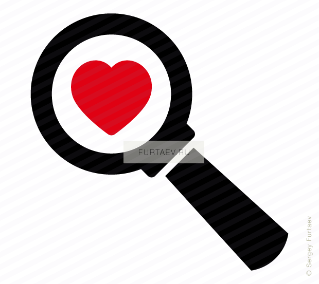 Vector icon of heart under magnifying glass