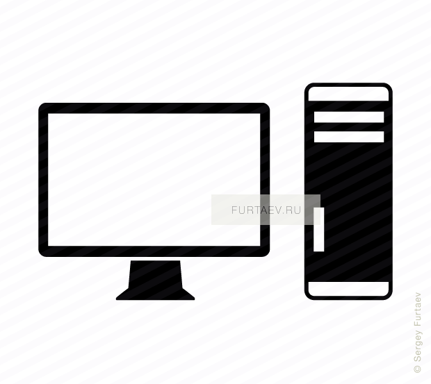Vector icon of computer monitor with tower case