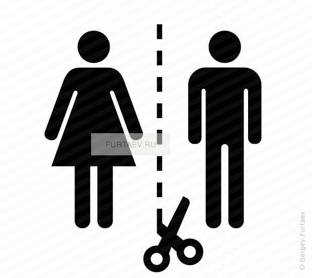 Vector icon of scissors on cutting line between woman and man