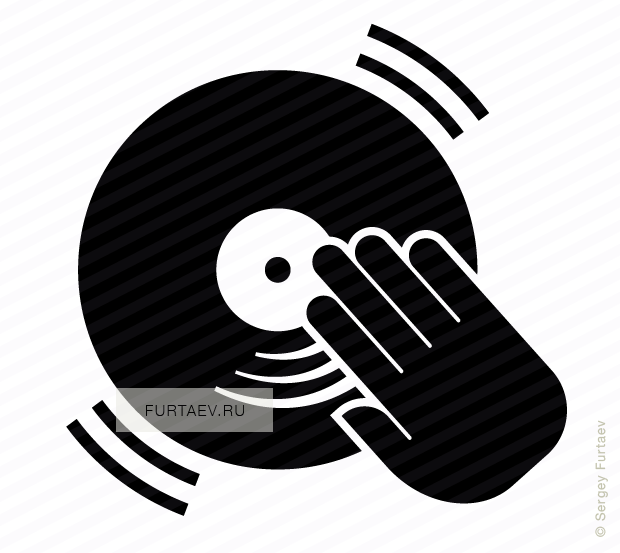 Vector icon of DJ hand scratching vinyl record