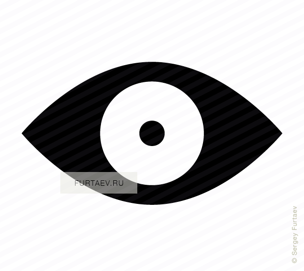 Vector icon of eye with excessive constriction of pupil