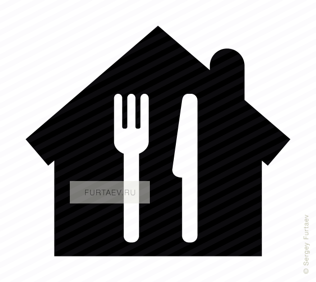 Vector icon of fork and knife over house