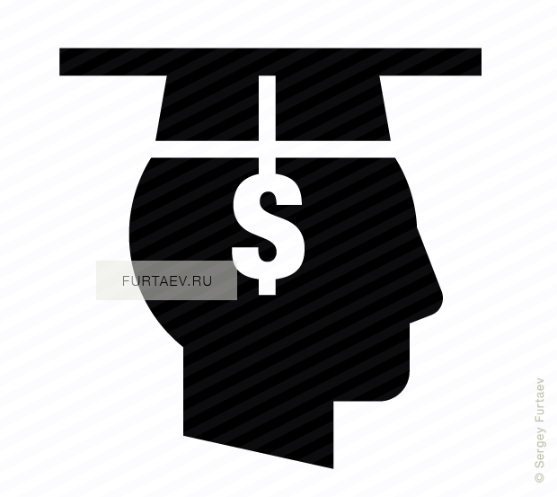 Vector icon of male profile with square academic cap with tassel in shape of dollar sign