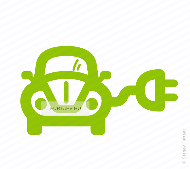 Vector icon of retro style automobile with electric plug