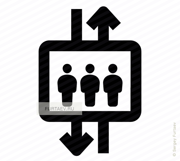Vector icon of people group in elevator