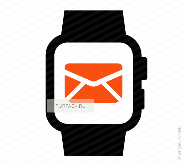 Vector icon of smart watch with envelope on screen