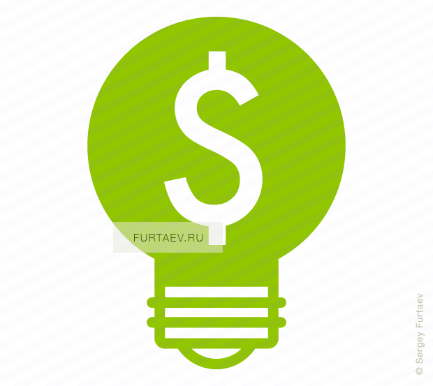 Vector icon of light bulb with dollar sign inside