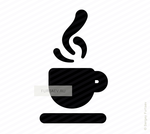 Vector icon of aroma coffee in small cup on saucer