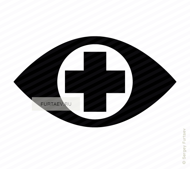 Vector icon of eye with cross in pupil