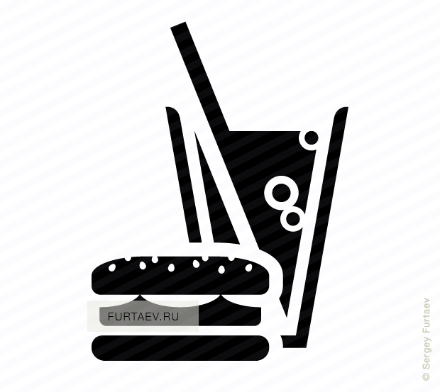 Vector icon of hamburger and soft drink