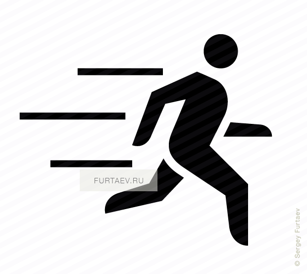 Vector icon of running male person with motion lines behind him