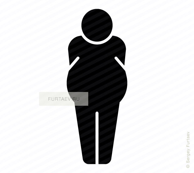 Vector icon of overweight person