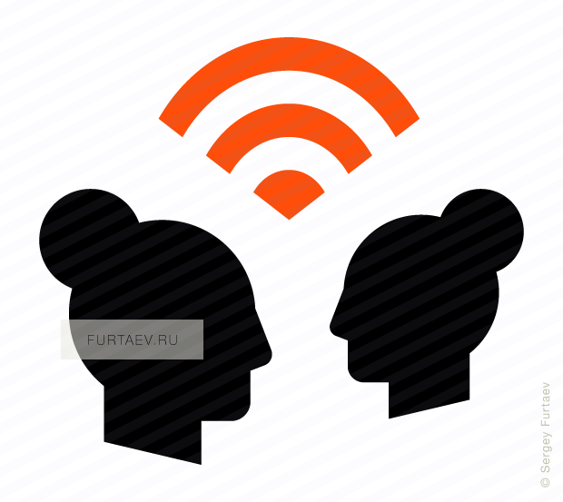 Vector icon of signal between two female profiles