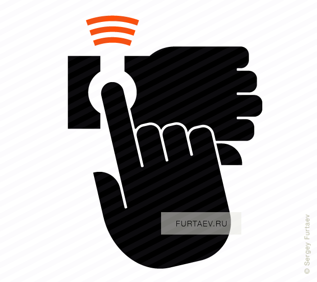 Vector icon of wireless signal going from smart watch under index finger