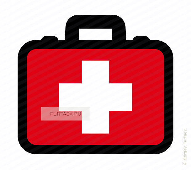 Vector icon of first aid box