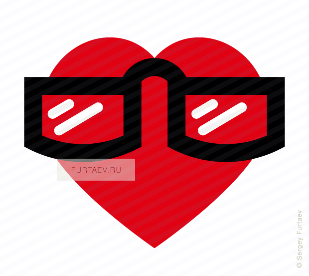 Vector icon of heart in glasses