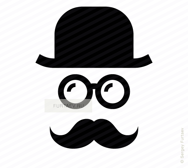 Vector icon of mustache man in retro hat and with glasses