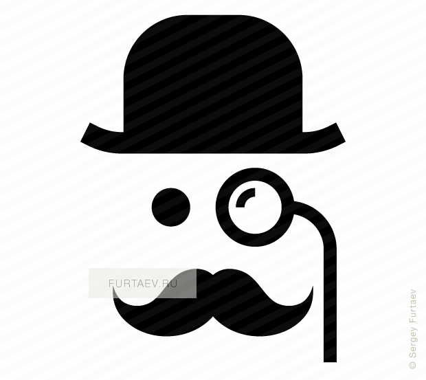 Vector icon of mustache man in retro hat and with monocle